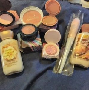 Blushes, bronzers,brush, and lotions